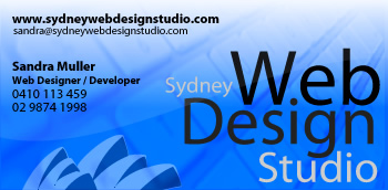 Business Card 1 for Sydney Web Design Studio with a brighter blue